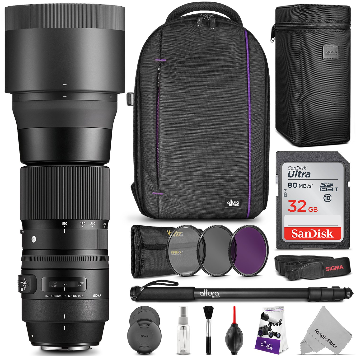 &quot;</a></noscript></p><p>&nbsp;Sigma 150-600mm f/5-6.3 DG OS HSM Super Telephoto Zoom Lens for NIkon+ DSLR Camera Backpack + SanDisk 32GB Ultra UHS-I SDHC Memory Card (Class 10) + Pro 67&#8243;></a></p><p>The Sigma 150-600mm f/5-6.3 DG OS HSM Contemporary Lens is the first hyper-telephoto zoom from the contemporary line. It is lightweight and compact in construction and offers a HSM (Hyper-Sonic Motor), Optical Stabilizer with Accelerometer, filter size of 95mm and features a minimum aperture of f/22.</p><h3><a href=