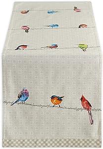 Maison d' Hermine Birdies On Wire 100% Cotton Table Runner 14.5 Inch by 108 Inch