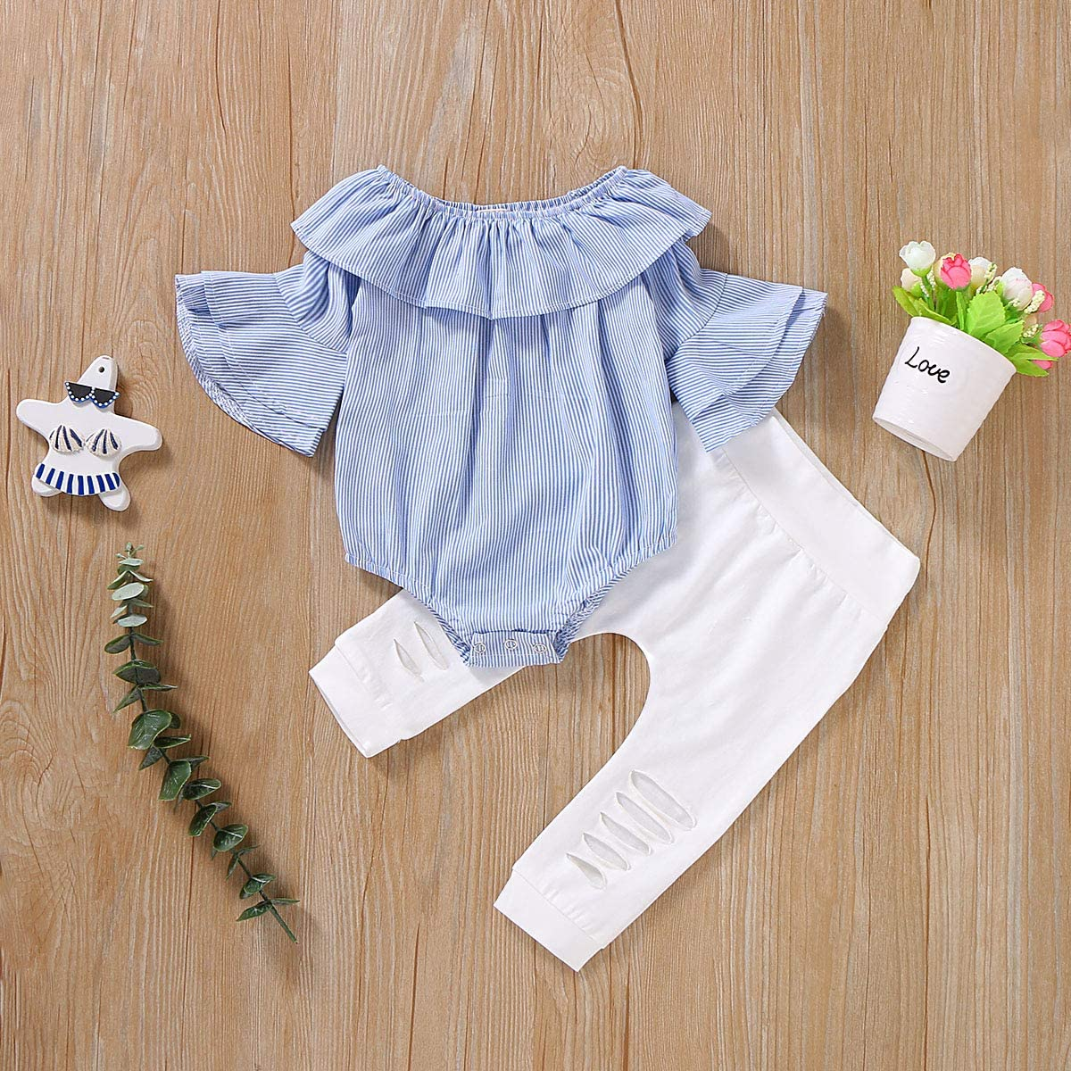 SANMIO Toddler Baby Girl Clothes Fall Sets Newborn Ruffle Romper Jumpsuit Tops Floral Halen Pants Outfit Set