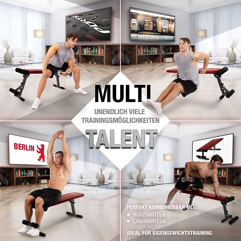 Sportstech Banc de Musculation Pliable Multifonction Sit-up Fitness BRT100//500 inclinable muscu Entrainement r/églable poign/ées Push-up Fitness Muscles abdominaux
