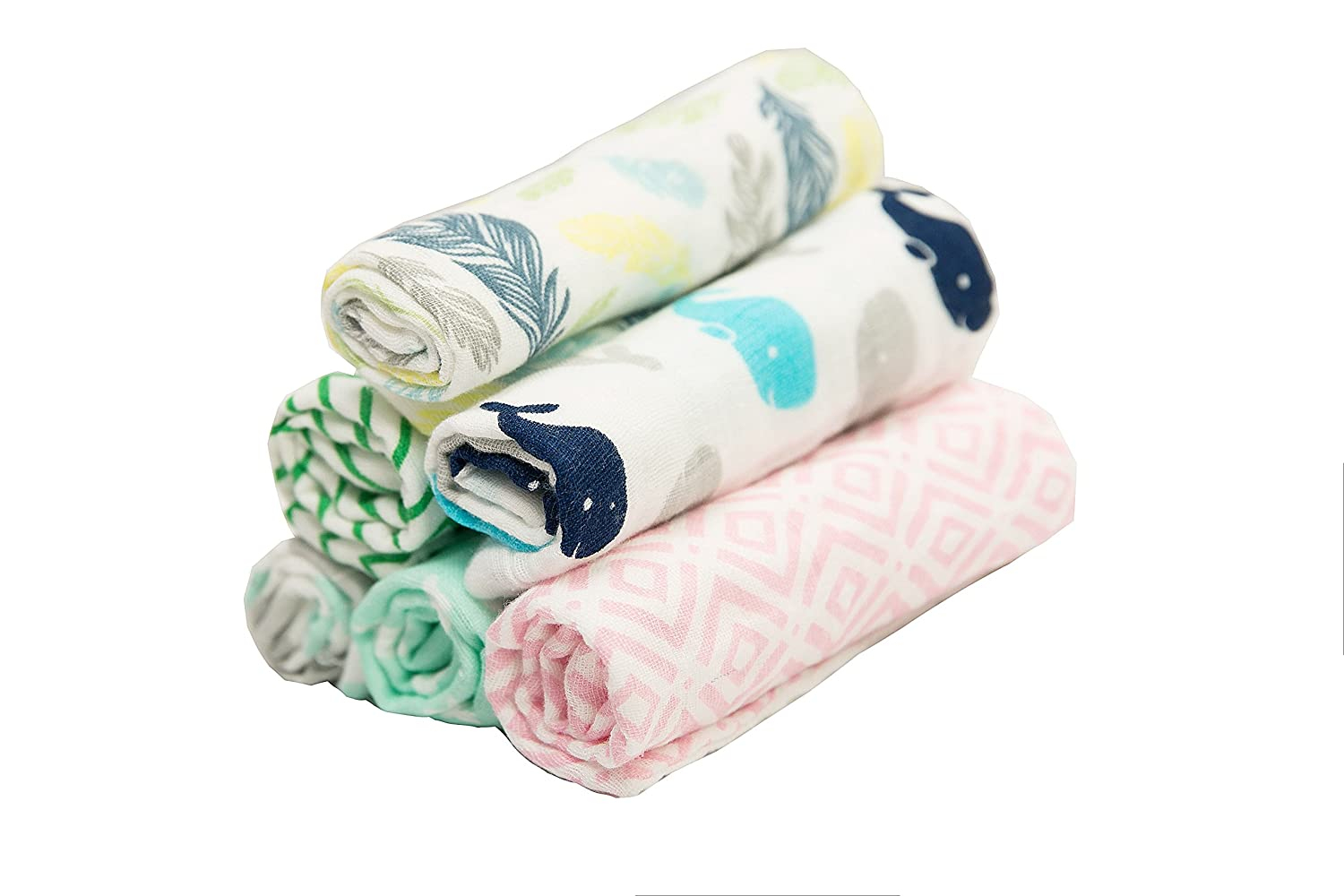 BWinka 6 Pack Unique Design encrypt 100/% Muslin Soft Newborn Baby Face Towel and Muslin Washcloth for Sensitive Skin with Hook Best for Shower Gift 12x12 Reusable Wipes