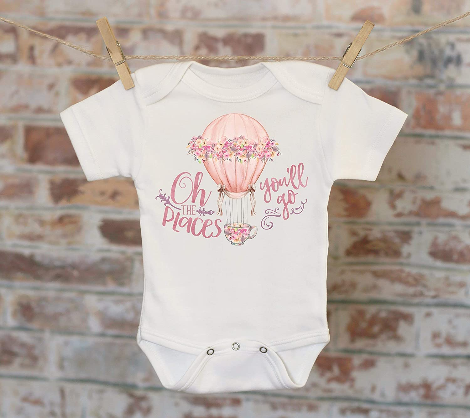 Oh The Places You'll Go Hot Air Balloon Onesie®, Boho Onesie, Funny Onesie, Cute Baby Bodysuit, Cute Onesie, Boho Baby Onesie