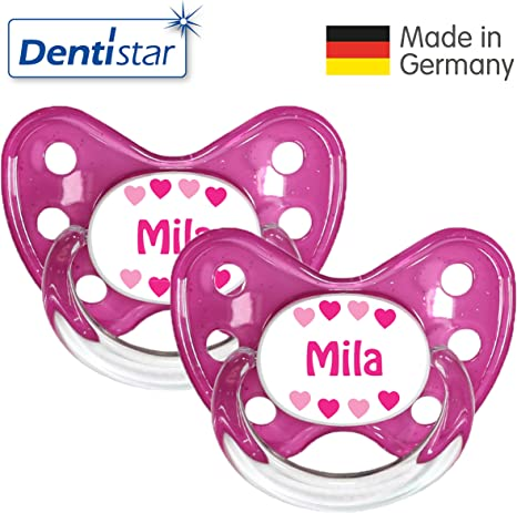 denti Star® Chupete 2 unidades de nuckel silicona en tamaño 3, A partir de 14 meses – zahnfreundlich & kiefergerecht – Chupetes para bebés, nombre de niña Mila Gr. 3: Amazon.es: Bebé