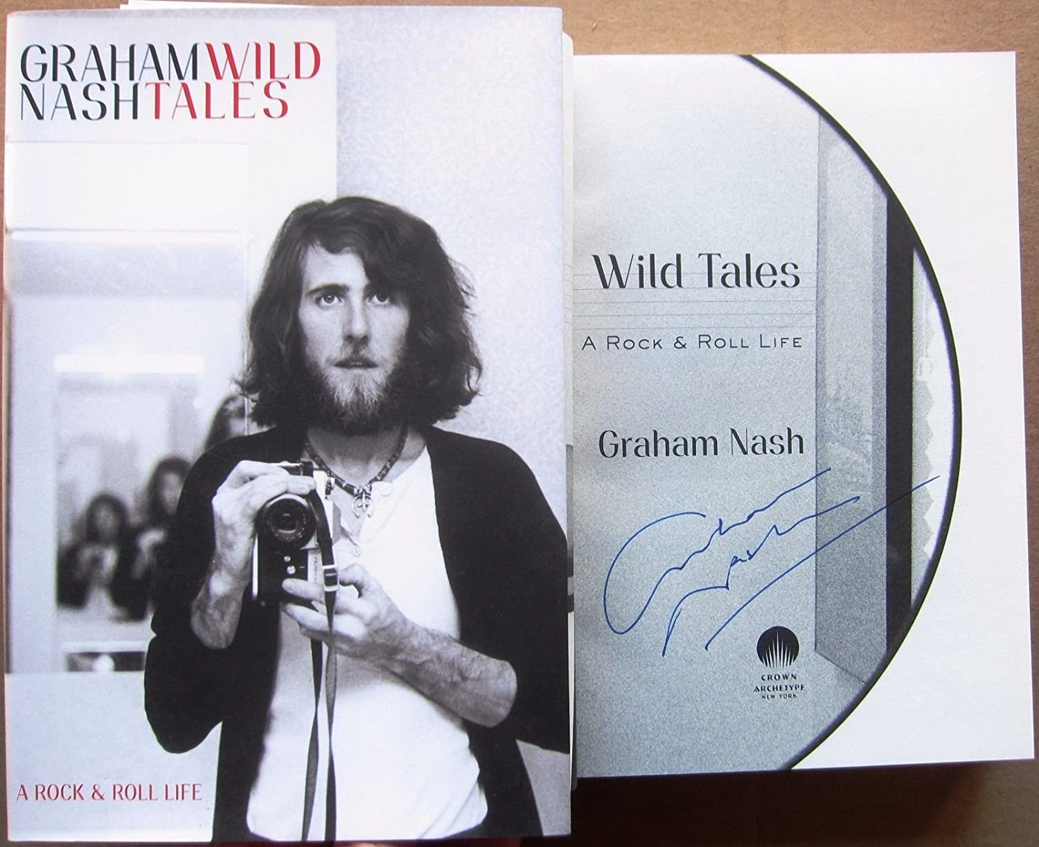 Graham Nash signed Book Wild Tales 1st Printing Crosby Stills Beckett BAS Auth