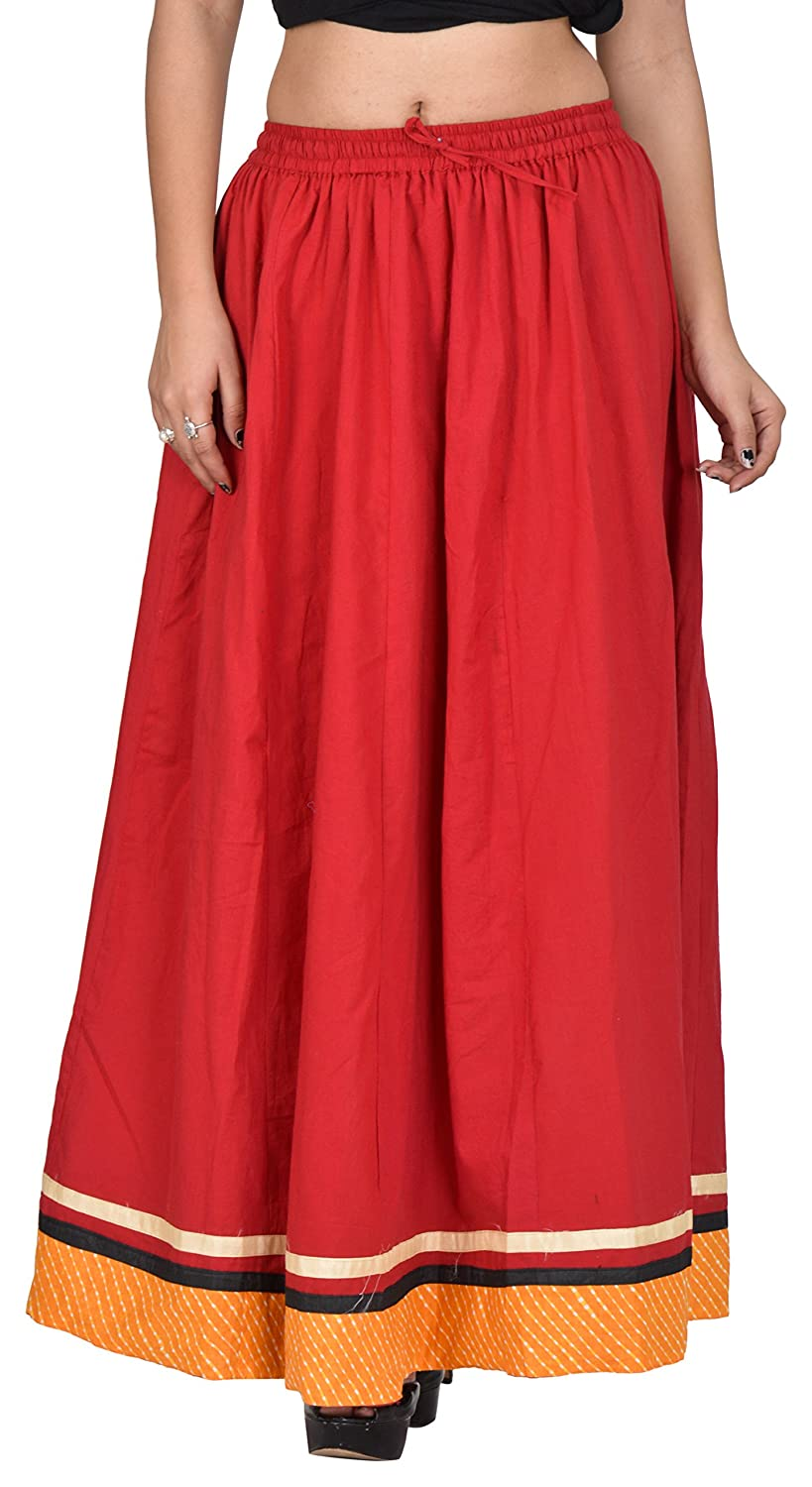 E-Tailor Women's Rang-Rej Collection Ethnic Maxi Party Wear Free Size Cotton Skirt (Red and Yellow)