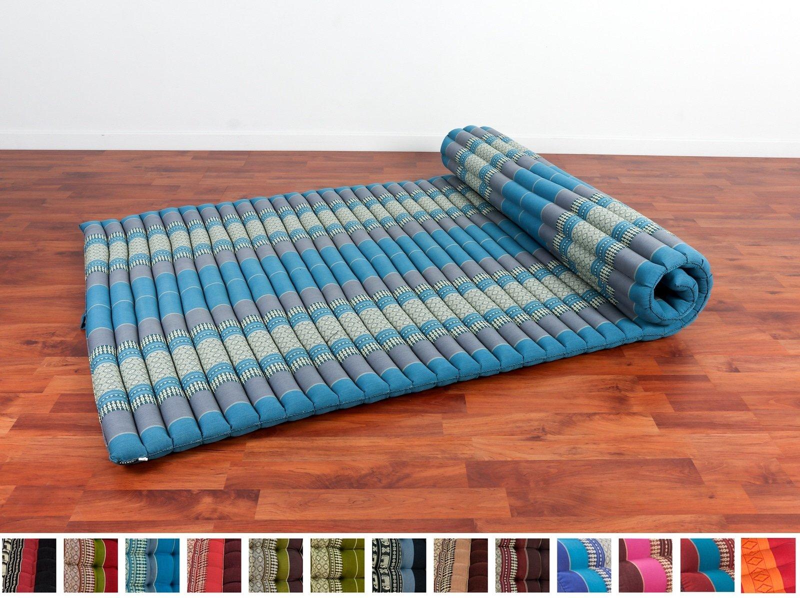 Leewadee Roll Up Thai Mattress XL, 79x41x2 inches, Kapok, Blue, Premium Double Stitched