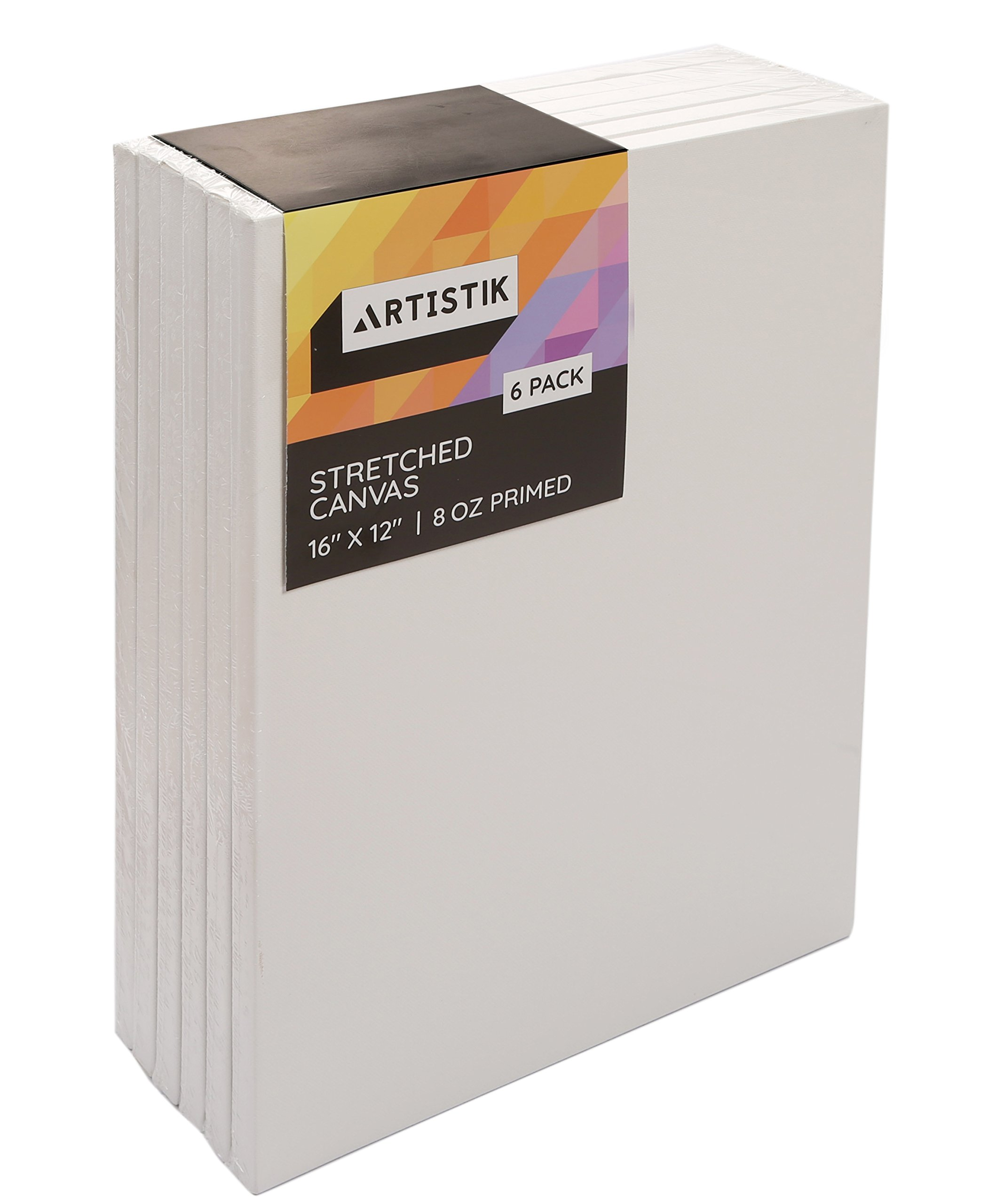 Artistik Stretched Canvas Frames - Stretched Canvas (Pack of 6-16 in x 12 in) 100% Cotton Artist Quality Acid Free Triple Primed Gesso Stretched Canvases Quality Art Paint Supply