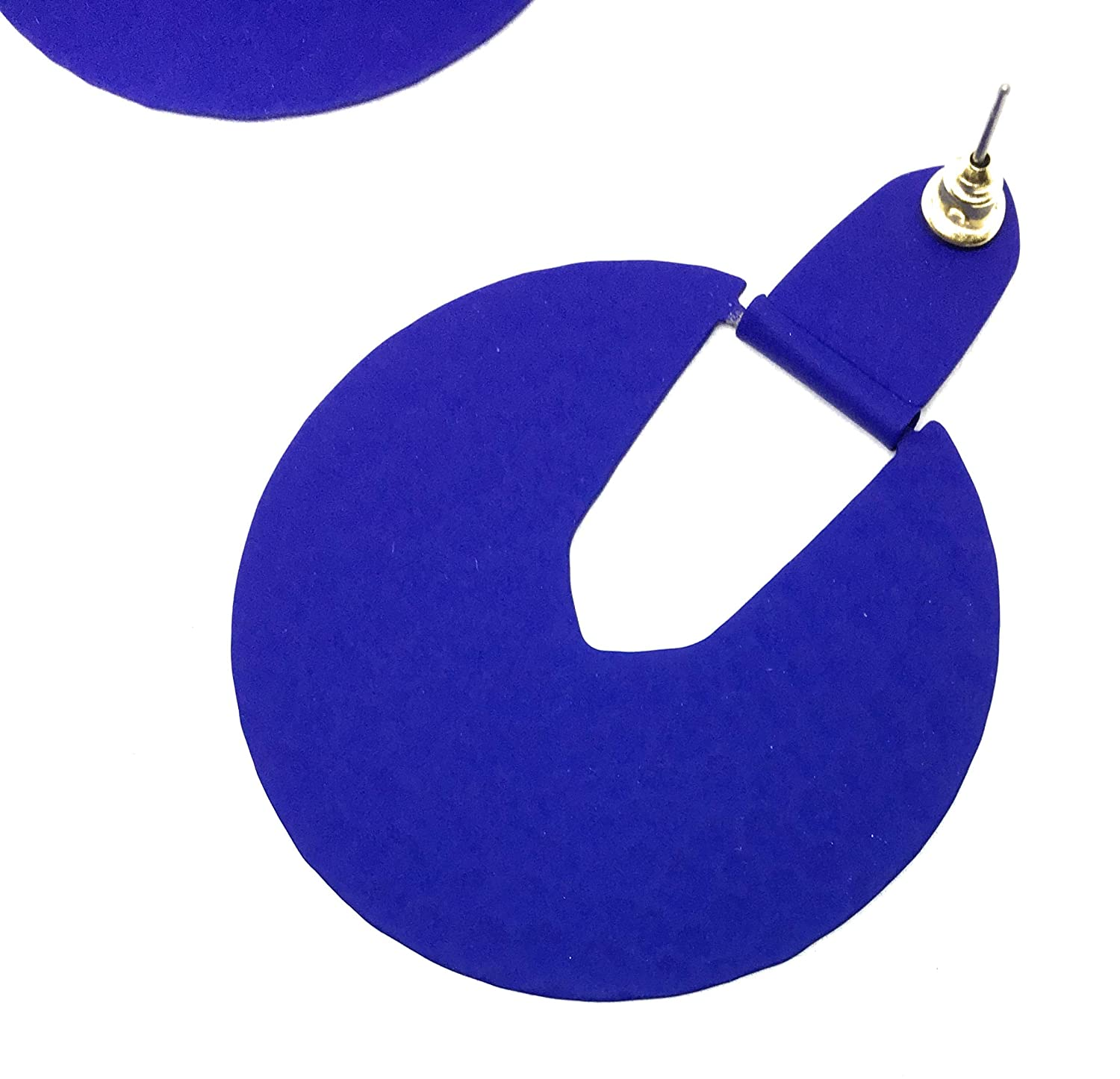 Inspired Fashion Jewelry Big Statement Circle Earrings in Matte Indigo Blue