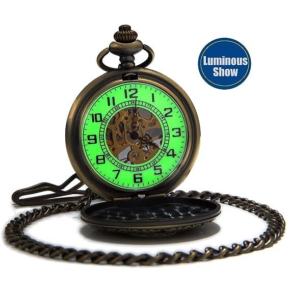 SEWOR Vintage mecánica Mano Viento Reloj de Bolsillo Luminosa Esfera Lupa de Cristal (Bronze)
