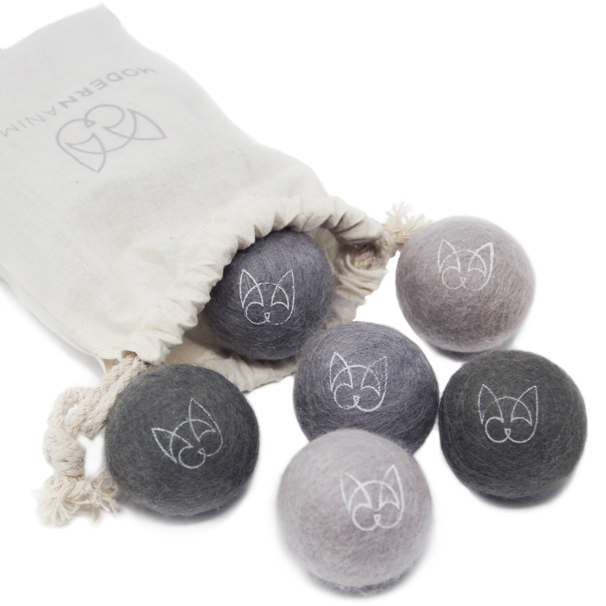 Modern Animal Set of 6 Wool Felt Ball Toys with Jingle Bell for Cats and Small Pets. Handmade, Natural, Eco-Friendly, Fun Play Toy