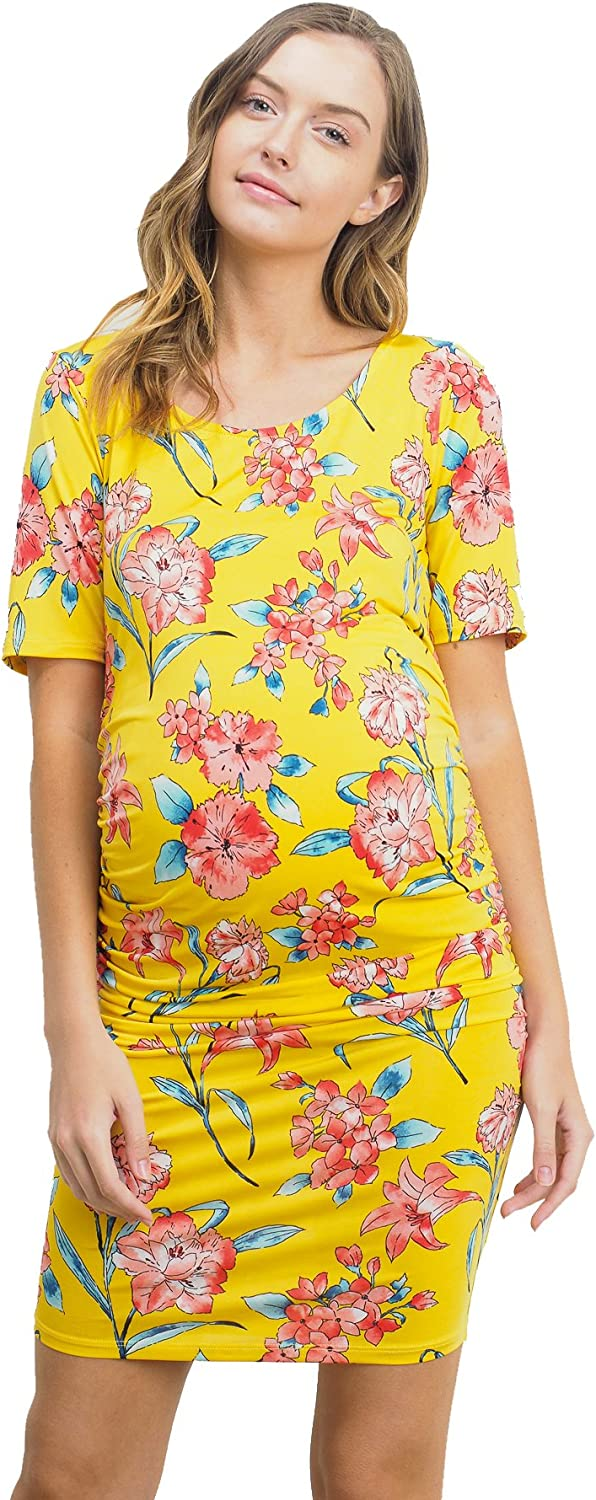 Yellow//Red, Large HELLO MIZ Womens Floral Side Ruched Fitted Maternity Dress Made in USA