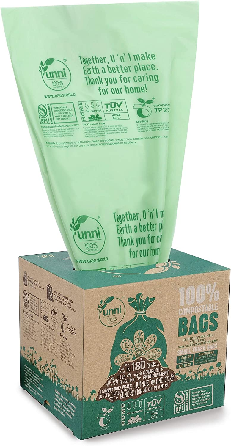 UNNI ASTM D6400 100% Compostable Trash Bags, 3 Gallon, 11.35 Liter, 600 Count, Extra Thick 0.71 Mils, Food Scrap Small Kitchen Trash Bags, US BPI and Europe OK Compost Home Certified, San Francisco