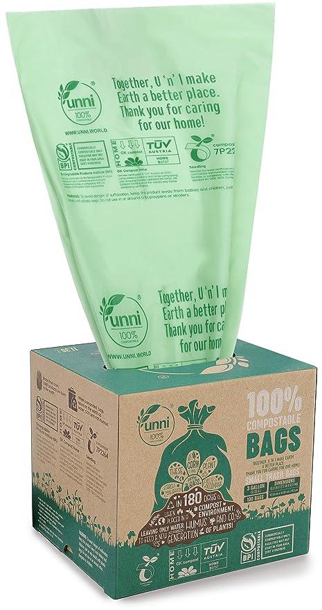UNNI ASTM D6400 100% compostables Bolsas de Basura, de 3 galones ...