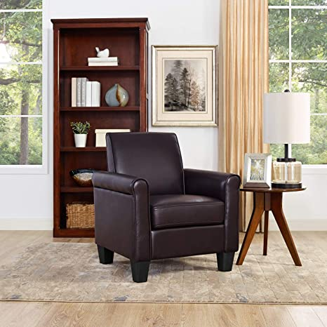 Astonishing Lohoms Modern Faux Leather Accent Chair Uplostered Living Room Arm Chairs Comfy Single Sofa Chair Espresso Forskolin Free Trial Chair Design Images Forskolin Free Trialorg