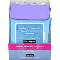 Neutrogena Day & Night Wipes with Makeup Remover Face Cleansing Towelettes & Night Calming Facial Cloths, Alcohol-Free…