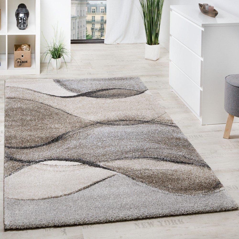 Paco Home Teppich Meliert Webteppich Hochwertig Wellen Optik Meliert Grau Beige Creme, Grösse 200x290 cm