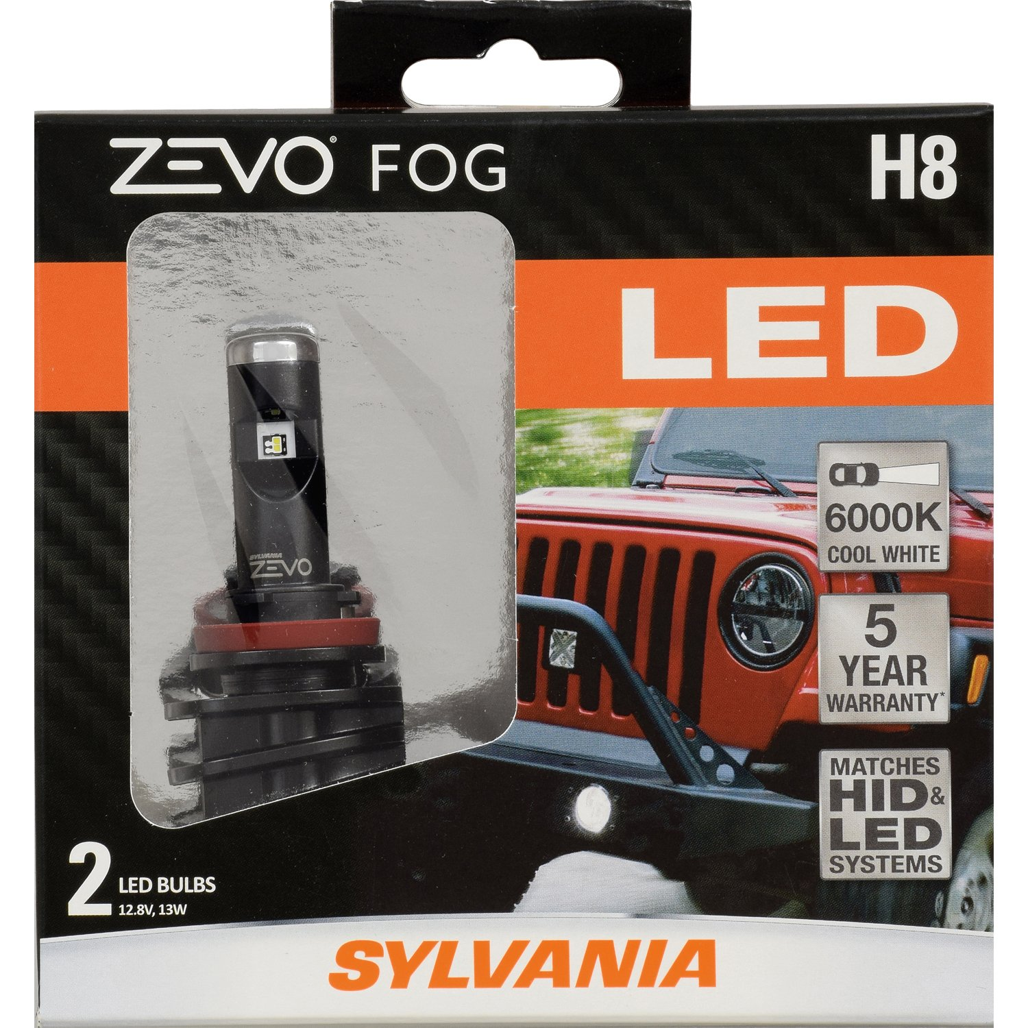 SYLVANIA - H8 ZEVO FOG LED - Premium Quality Fog Lights, Bright White LED Light Output, Matches HID & LED Headlight Lighting Systems, Added Style & Performance (Contains 2 Bulbs)