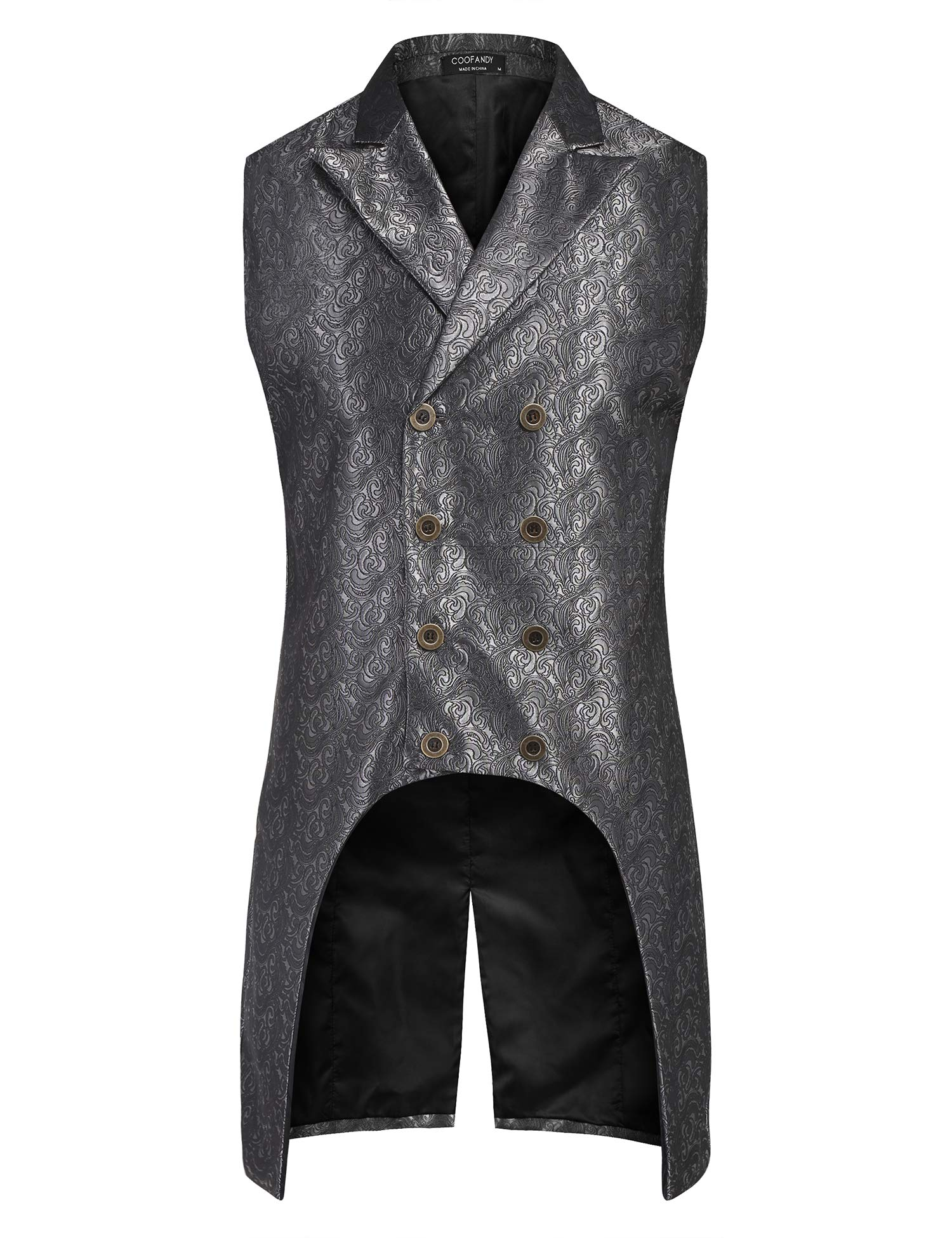 COOFANDY Mens Gothic Steampunk Vest Slim Fit Sleeveless Tailcoat Jacquard Brocade Double Breasted Waistcoat 3
