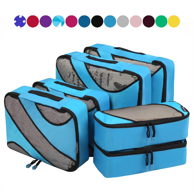 6 Set Packing Cubes,3 Various Sizes Travel Luggage Packing Organizers Black bag003-black