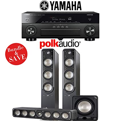 Yamaha AVENTAGE RX-A880 7 2-Ch 4K Network A/V Receiver + Polk Audio S60 +  Polk Audio S35 + Polk Audio HTS12-3 1-Ch Home Theater Package