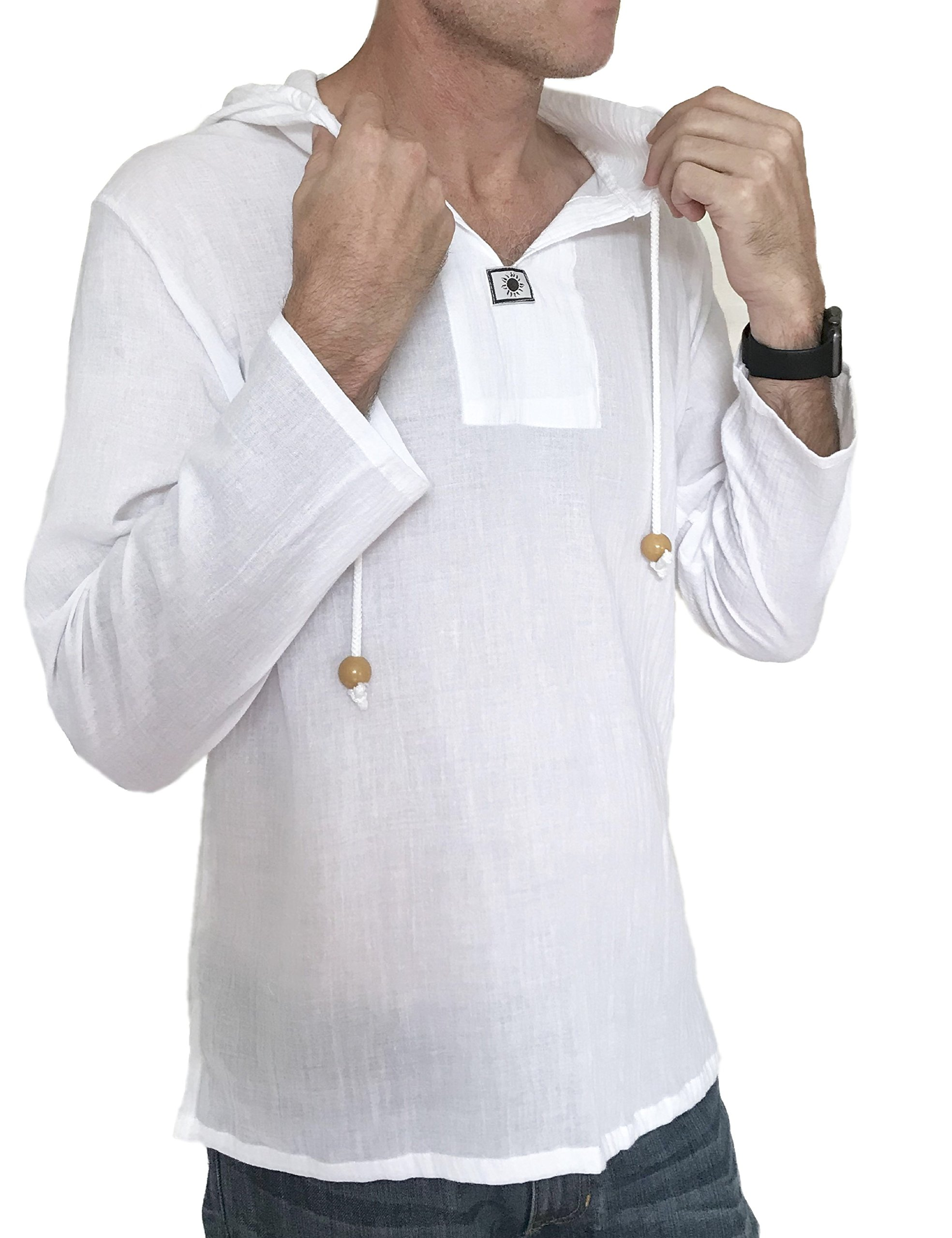 Men's Sun Hoodie Hippie Shirt 100% Cotton Top (Large, White)