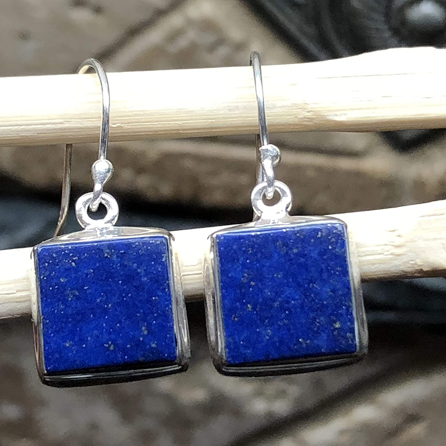 Solid Sterling Silver Rectangle Lapis Lazuli Dangle Earrings Wedding Gift