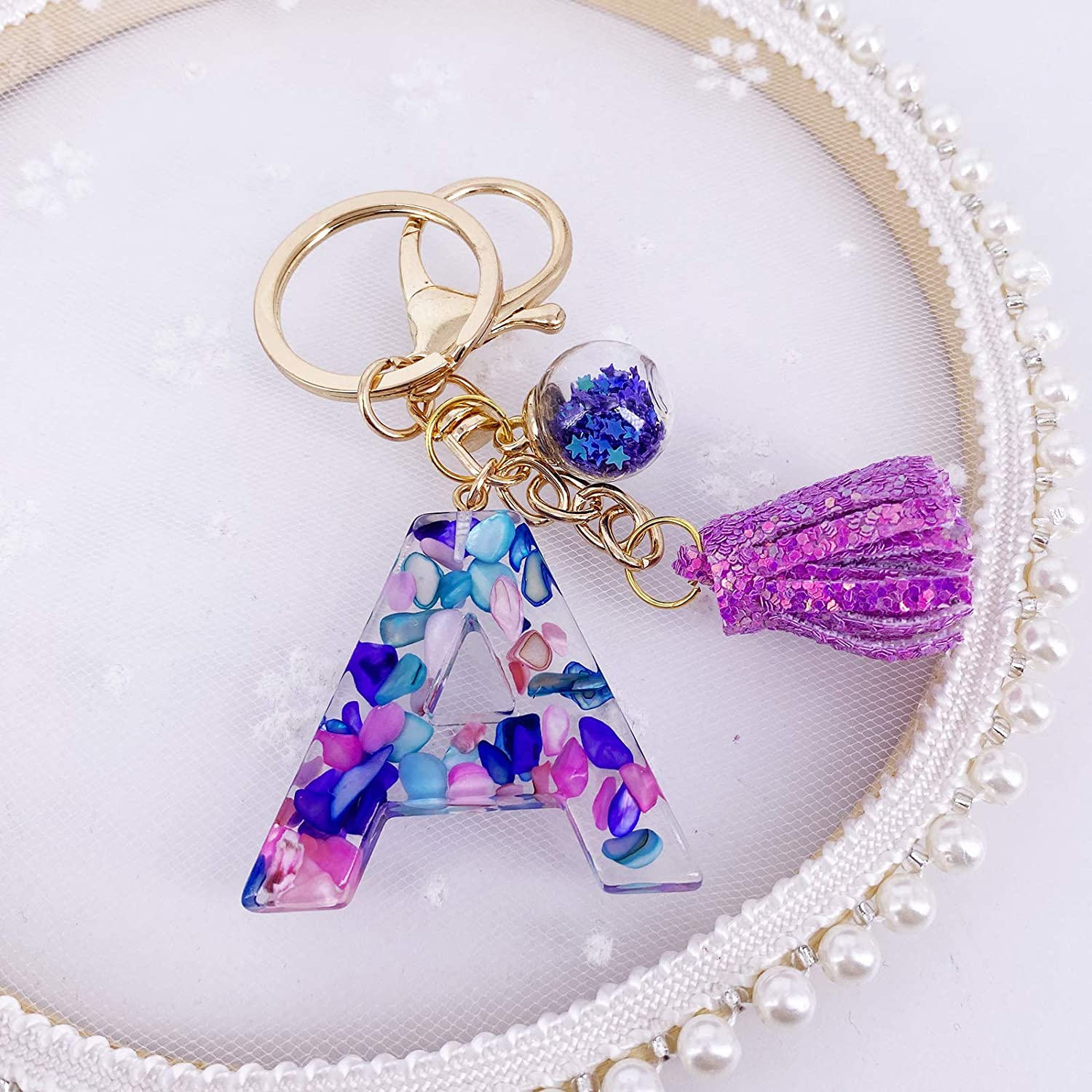 Details about  /Purple and Pink Custom Letter Keychains