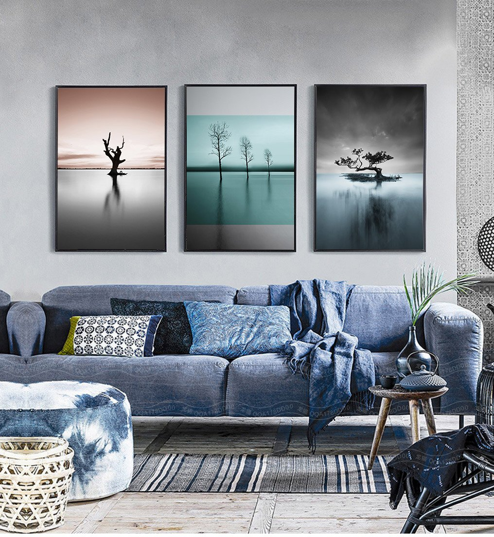 3 pieces Nordic Simple Abstract Scenery Canvas Pictures for Home Room Wall Art Decoration Unframed Canvas Painting by Gphell