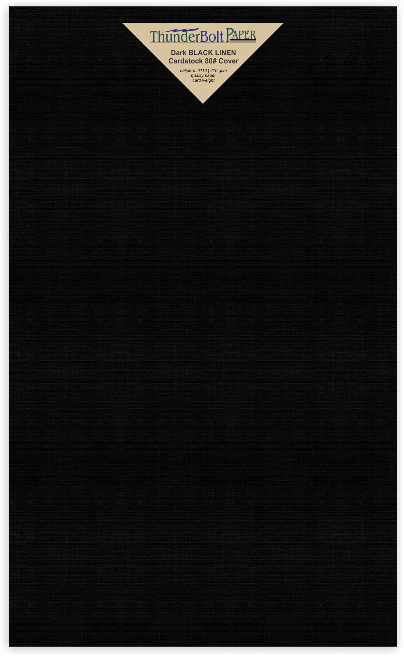 75 Black Linen 80# Cover Paper Sheets -8.5'' X 14'' (8.5X14 Inches) Legal|Menu Size - Card Weight - Deep Dye, Fine Linen Textured Finish - Quality Cardstock