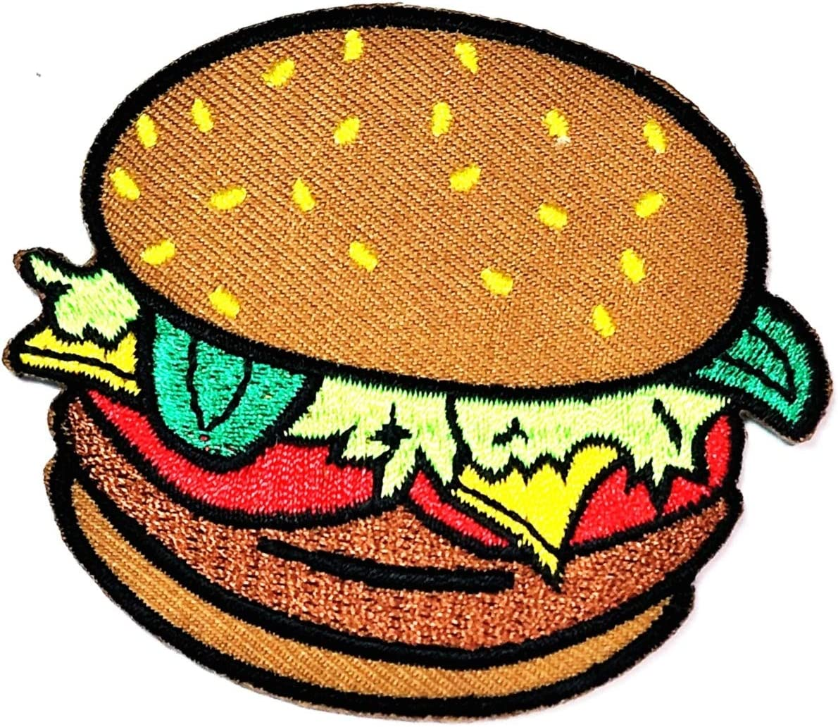Burger Hamburger Food Cooking Chef Kid Cartoon Patch Food and Drink Embroidered Iron on Applique Patches for DIY Jeans Jacket Clothing Handbag Shoes Caps Decoration DIY or Souvenir Gift Birthday (06)