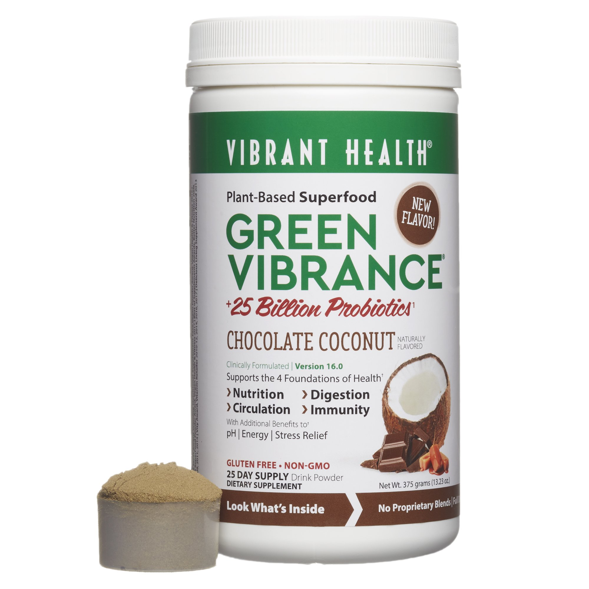 Vibrant Health - Green Vibrance, Plant-Based Daily Superfood + Protein and Antioxidants, Chocolate Coconut, 25 Servings