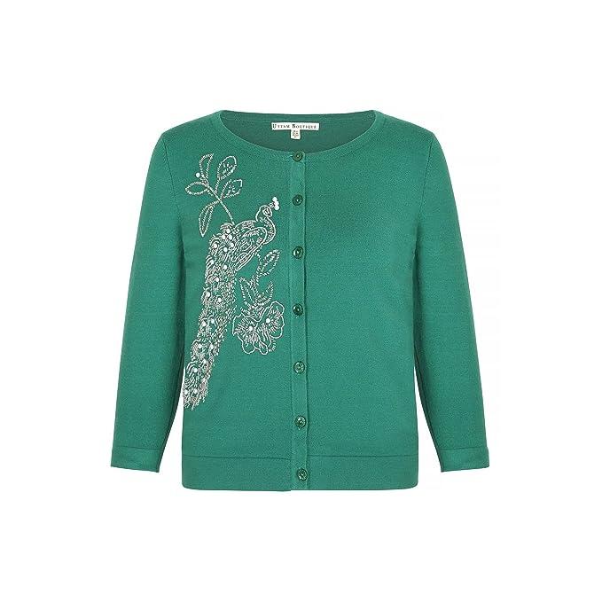 innovative design d30b0 d8531 Uttam Boutique - Cardigan con pavone in perline - Donna (42 ...