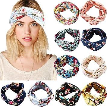 Fashion Floral Headband For Women Print Chiffon Boho Elastic Hair Bands Hairband