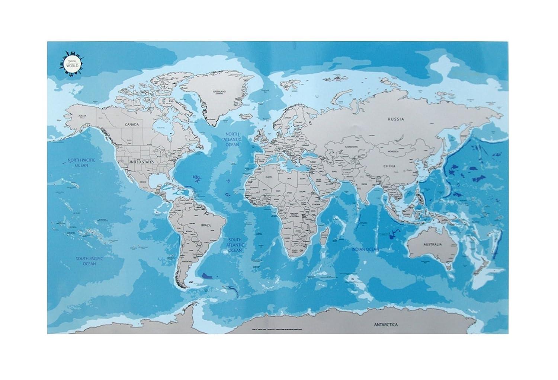 Scratch Off World Map Scratch Off World Map Ocean Amazon Co Uk