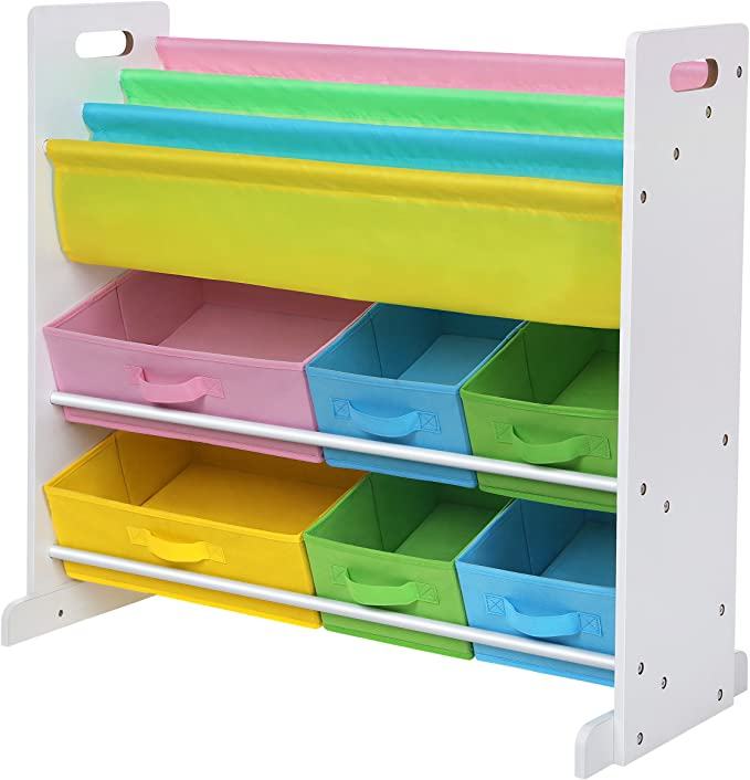 Blue Shelves Pink Multi-Functional Storage Unit with Boxes White SONGMICS Toy and Book Organiser for Kids Storage Rack for Children/'s Room Playroom and Yellow GKR330W01