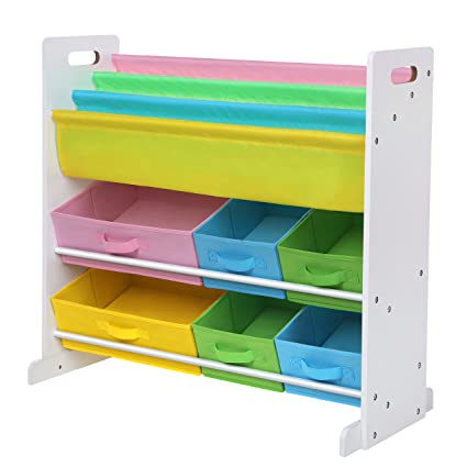 SONGMICS Childrens Toy Storage Unit With 6 Fabric Containers And 3 Tier Book