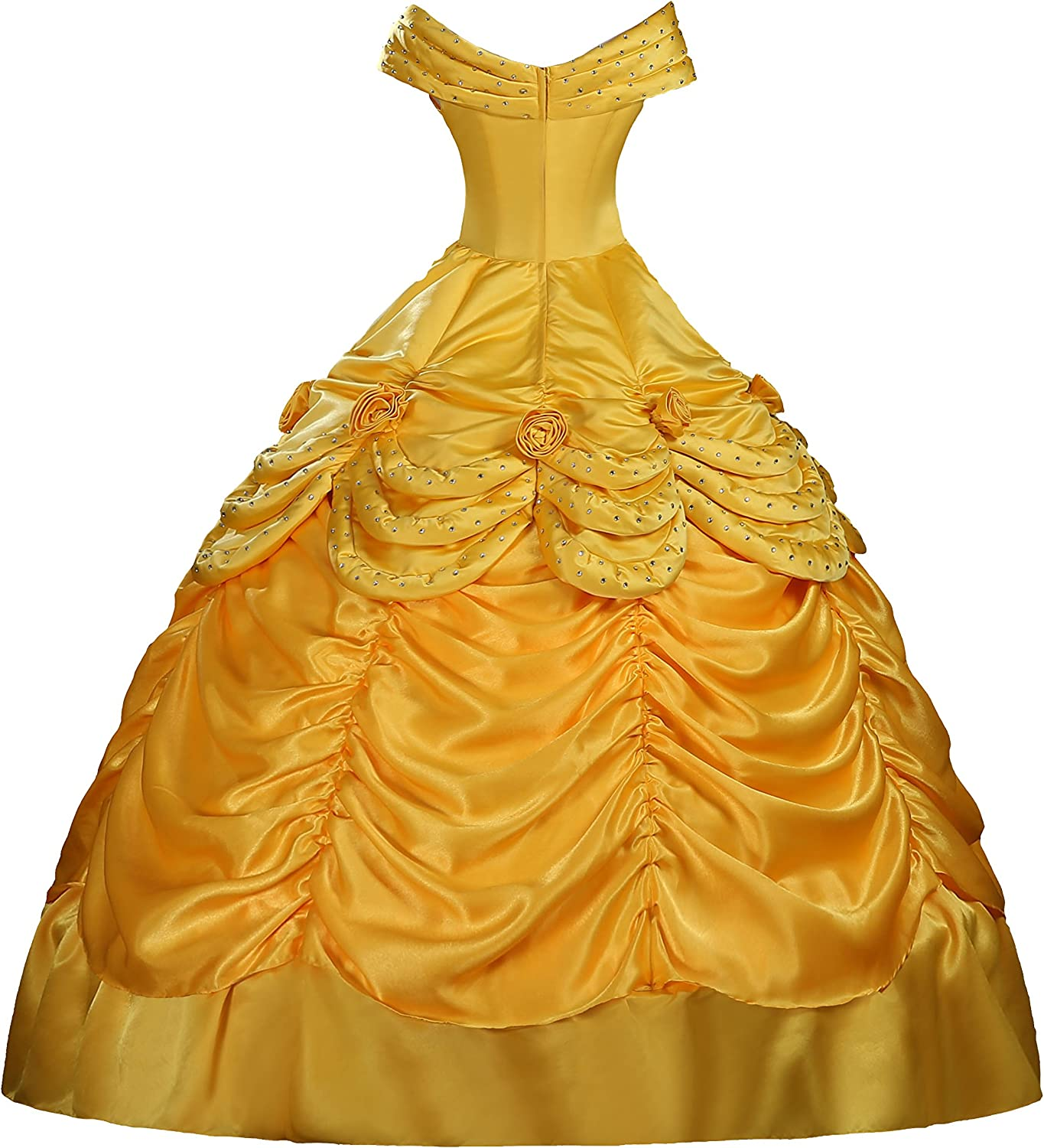 Hot Adult Beauty The Beast Princess Belle Cosplay Costume Ball Gown Fancy Dress Women