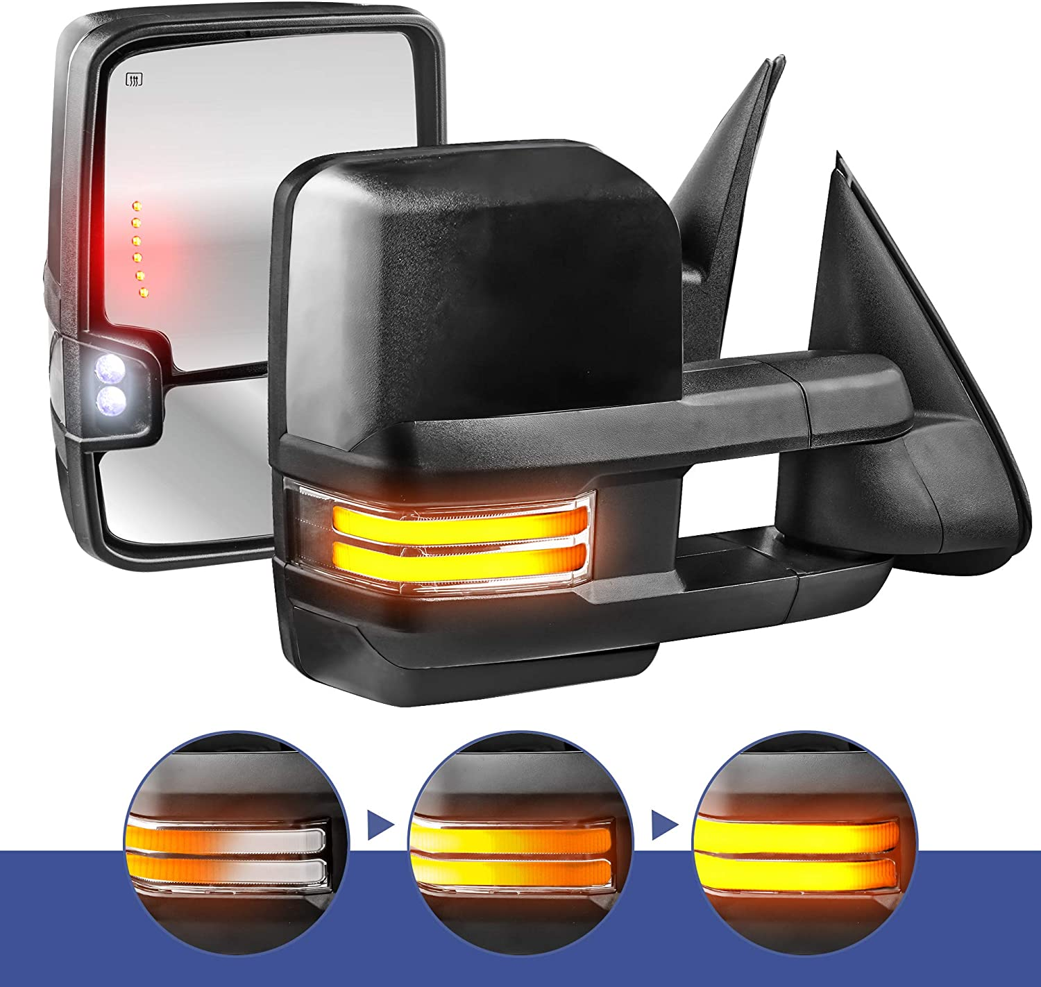 Set of 2 Clearance Lamp Running Light MOSTPLUS New Power Heated Chrome Towing Mirrors for Chevy Silverado Suburban Tahoe GMC Serria Yukon 1999-2002 w//Sequential Turn light
