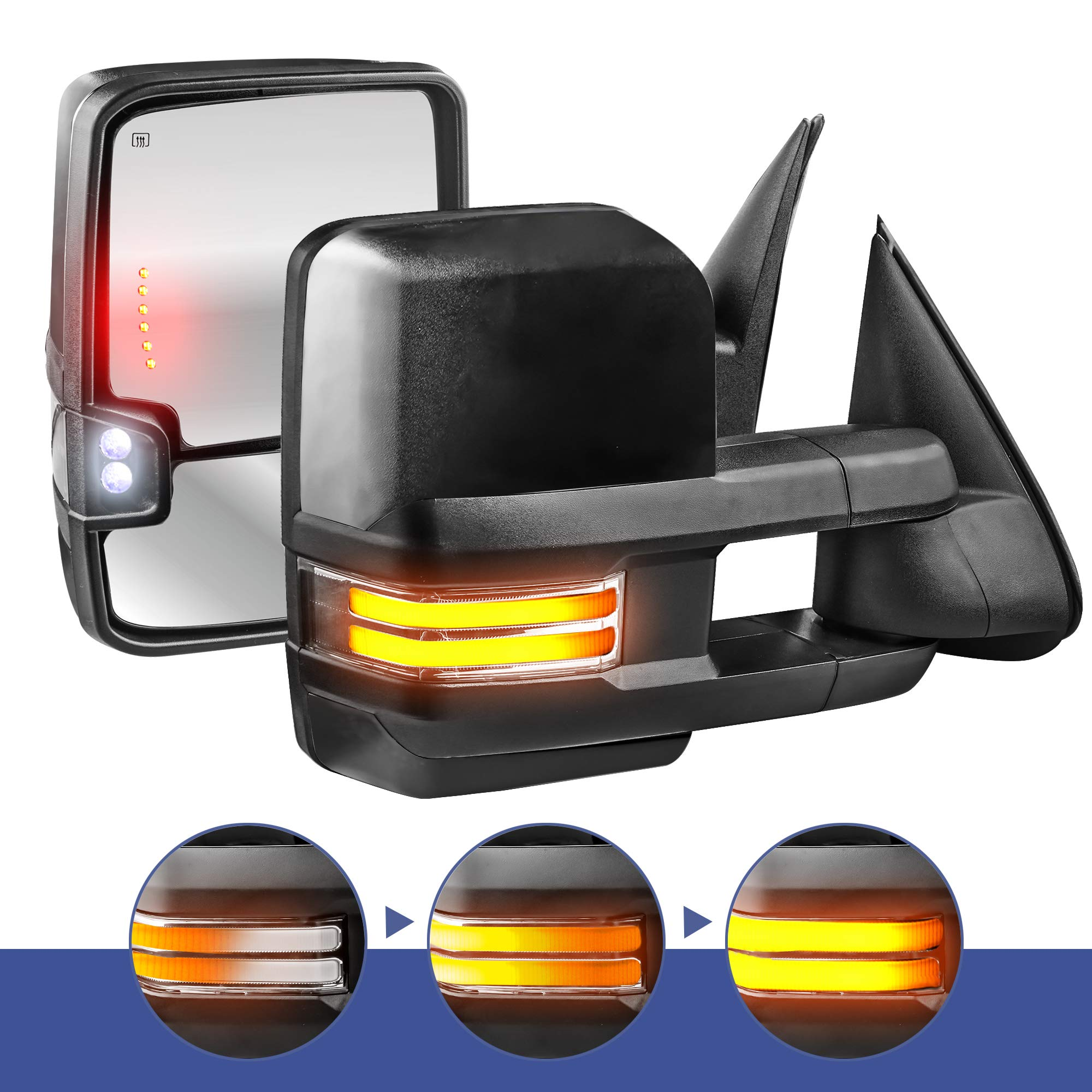 MOSTPLUS Power Heated Towing Mirrors for Chevy Silverado Suburban Tahoe GMC Serria Yukon 2003-2006 w/Sequential Turn light, Clearance Lamp, Running Light(Set of 2) (Black) by MOSTPLUS