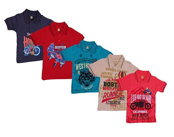 f546fe0d3f Greens Kids Printed Collar T-Shirts - Pack of 3 (Assorted Colors ...