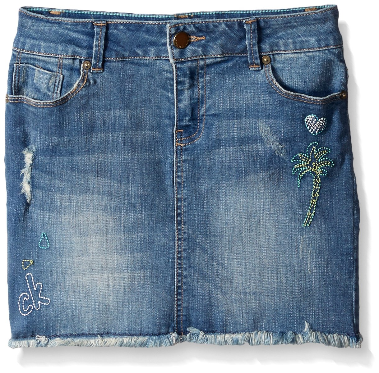 Calvin Klein Toddler Girls' Broderie Cut-Off Denim Skirt, Authentic, 3T