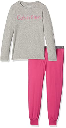 Calvin Klein LS Knit PJ Set, Niñas, (Grey Heather W/Lilac Rose