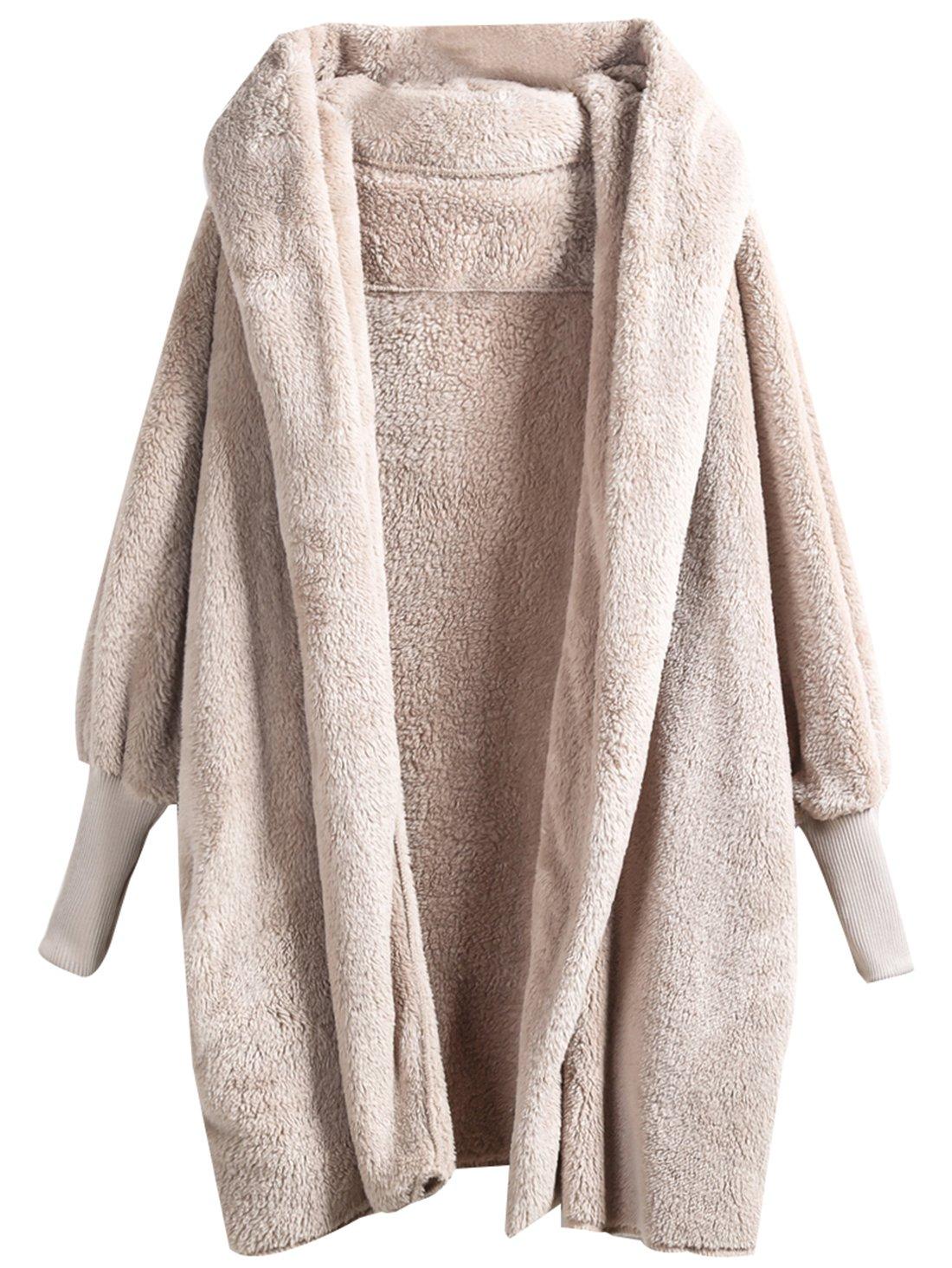 SweatyRocks Women Khaki Hooded Dolman Sleeve Faux Fur Cardigan Coat For Winter (One Size, Apricot)