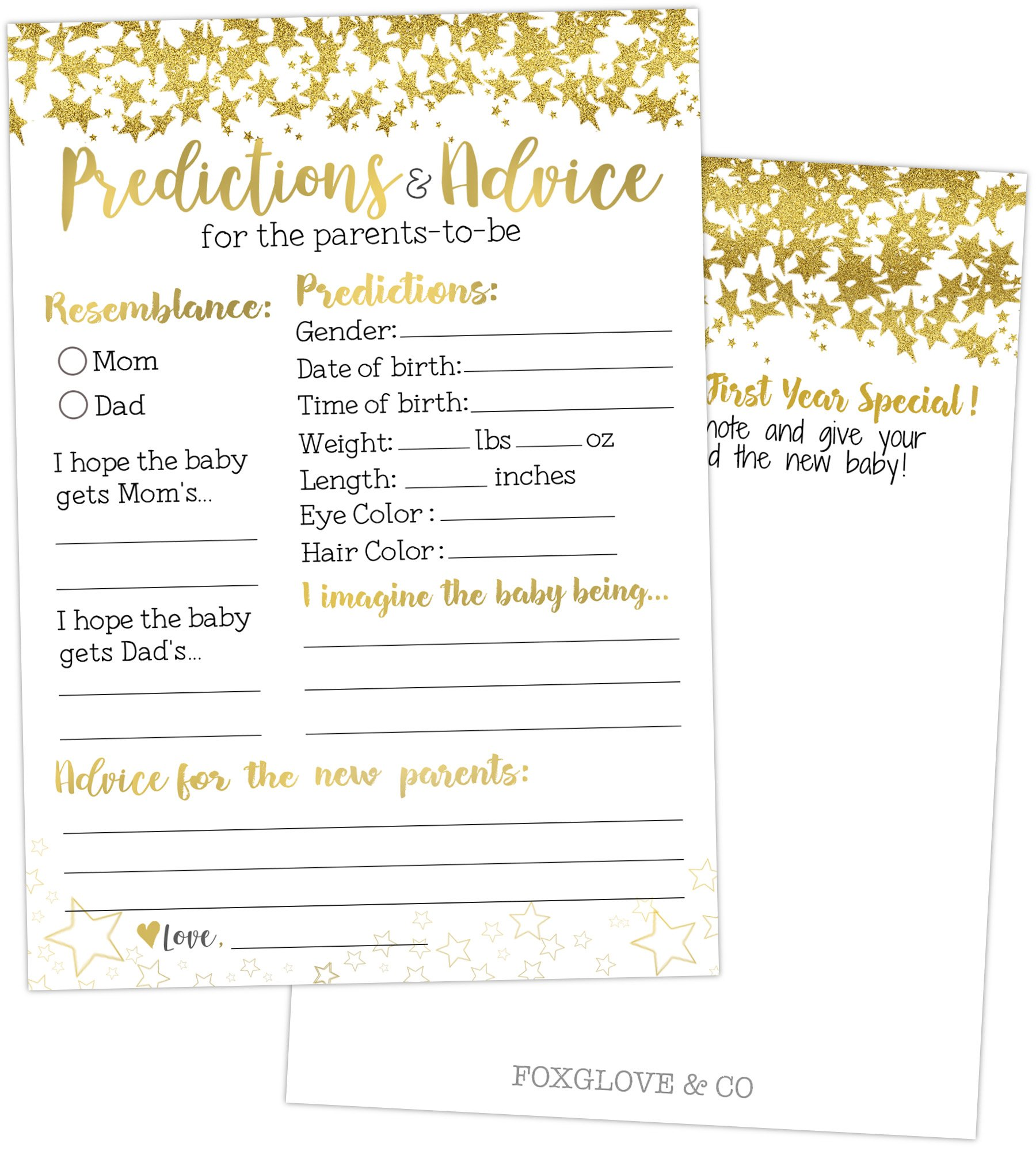 50 Gold Baby Prediction and Advice Cards - Baby Shower Games for Gender Neutral, Girls, Boys or Party Favors to Play - Best Wishes for Baby, New Mom & Dad, Mommy & Daddy, Parents to Be Advice Cards