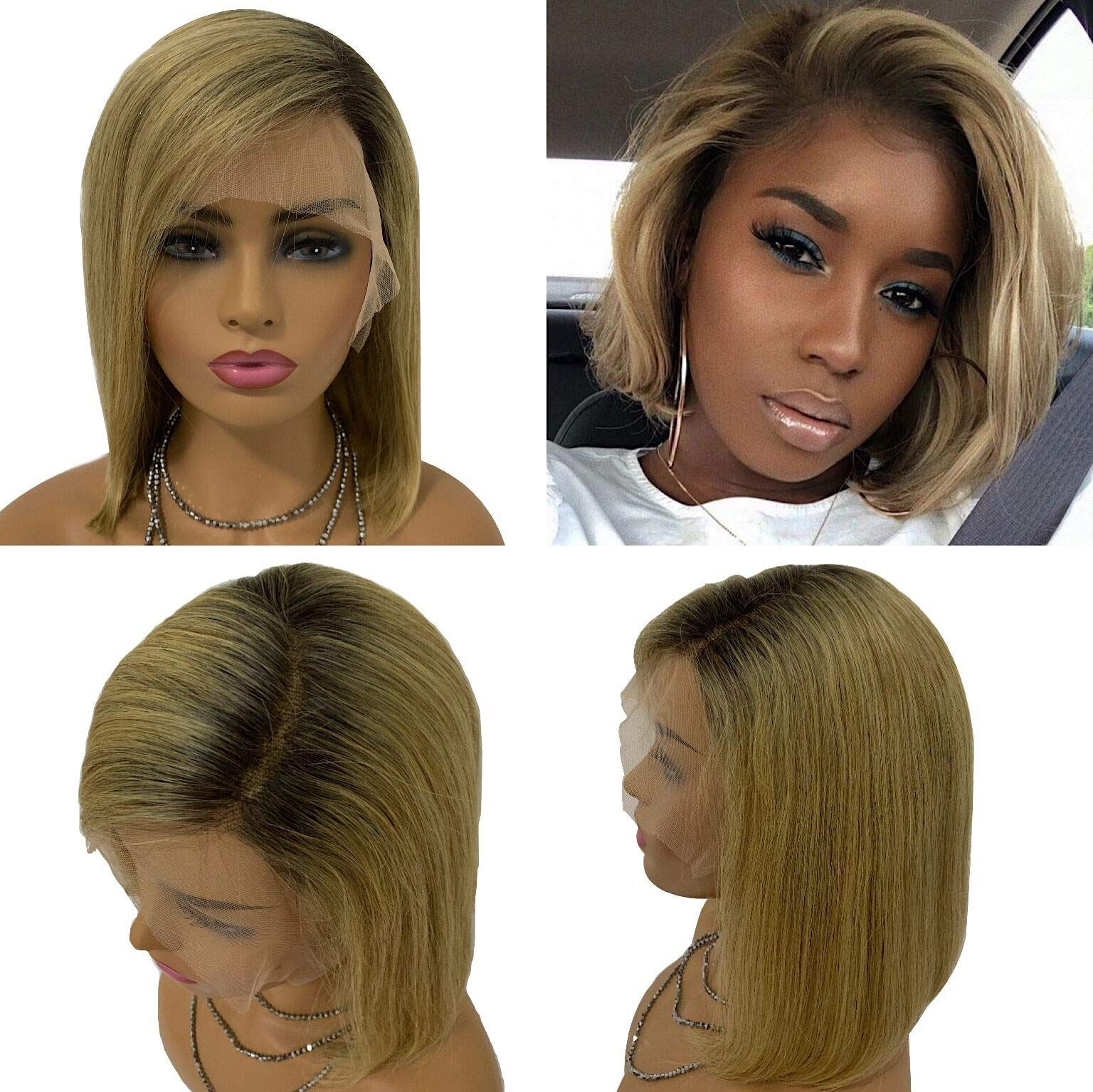 Long Bob Lace Front Wigs 13x6 Strawberry Blonde Dark Roots Quality Human Hair Wig Side Part Pre Plucked with Baby Hair Soft and Bouncy 14 inch 180% Density #1b/27 by Belaved