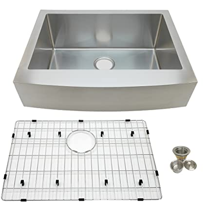 Auric Sinks 27u0026quot; Retrofit Short Apron Farmhouse Curved Front Single  Bowl Sink, Stainless Steel