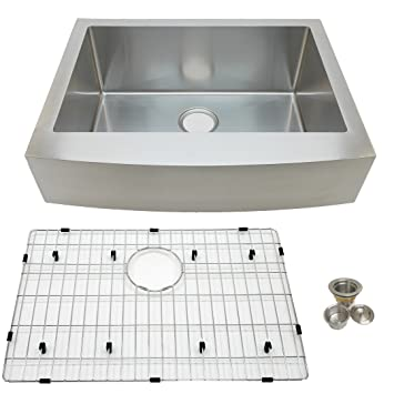 Auric Sinks 27u0026quot; Farmhouse Curved Front Apron Single Bowl Sink, Premium  Stainless Steel,