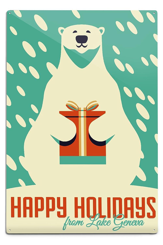 若者の大愛商品 ジュネーブ湖、ウィスコンシン – Happy B076PQT72H Holidays 18 – ギフト – 12 Polar Bear – レトロクリスマス Canvas Tote Bag LANT-83523-TT B076PQT72H 12 x 18 Metal Sign 12 x 18 Metal Sign, 買いもんどころ:476959c2 --- 4x4.lt