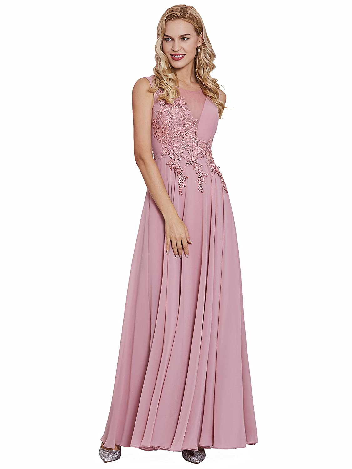 e09cafc0fe5 Tanpell Women s A Line Sheer Neck Appliques Long Bridesmaid Evening Gown at  Amazon Women s Clothing store