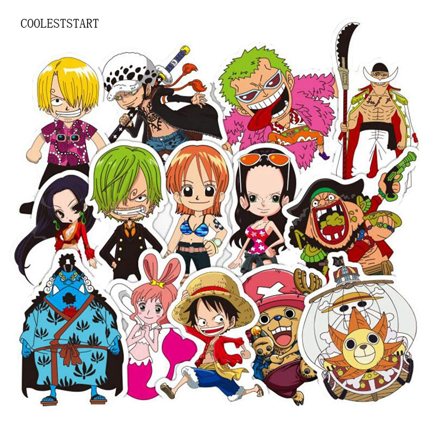 Amazon com tto one piece sticker pack 48pcs anime 2018 one piece luffy stickers for car laptop pvc backpack home decal pad bicycle ps4 waterproof decal